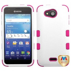 Kyocera Wave / Hydro Air Natural Cream White/Hot Pink Hybrid Case