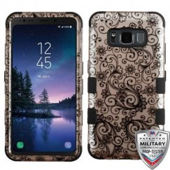 Samsung Galaxy S8 Active Black Four-Leaf Clover (2D Rose Gold)/Black Hybrid Case Military Grade