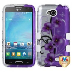 LG Optimus L90 Twilight Petunias 2D Silver/Solid White Hybrid Case