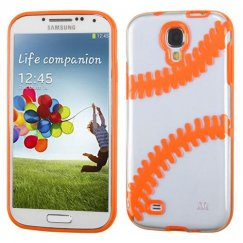 Samsung Galaxy S4 Transparent Clear/Solid Orange(Baseball) Gummy Cover