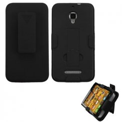 Alcatel One Touch Fierce Rubberized Black Hybrid Holster with Stand