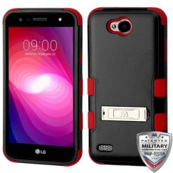 LG X Power 2 Natural Black/Red Hybrid Case with Stand Military Grade