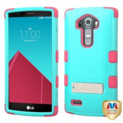 LG G4 Natural Teal Green/Electric Pink Hybrid Case with Stand