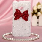 HTC One M7 Red Bow Pearl 3D Diamante Back Case