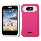 LG Motion 4G Rubberized Hot Pink/White Back Protector Cover