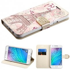 Samsung Galaxy J7 Eiffel Tower Diamante Wallet with Diamante Belt for Galaxy J7