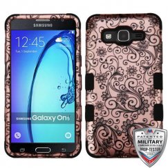 Samsung Galaxy On5 Black Four-Leaf Clover 2D Rose Gold/Black Hybrid Case