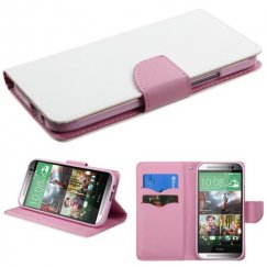 HTC One M8 White Pattern/Pink Liner wallet with Card Slot