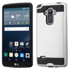 LG G Stylo Silver/Black Brushed Hybrid Case