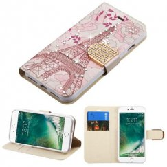 Apple iPhone 8 Eiffel Tower Diamante Wallet with Diamante Belt