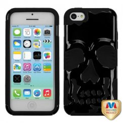 Apple iPhone 5c Solid Black/Black Skullcap Hybrid Case