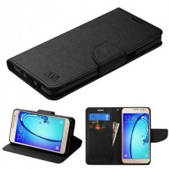 Samsung Galaxy On5 Black Pattern/Black Liner wallet with Card Slot
