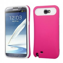 Samsung Galaxy Note 2 Rubberized Hot Pink/White Card Wallet Back Case