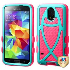 Samsung Galaxy S5 Rubberized Teal Green/Electric Pink Fish Hybrid Case