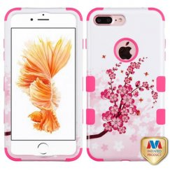 Apple iPhone 8 Plus Spring Flowers/Electric Pink Hybrid Case