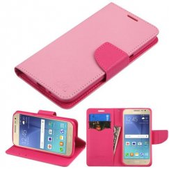 Samsung Galaxy J2 Pink Pattern/Hot Pink Liner Wallet with Card Slot