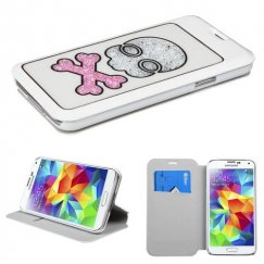 Samsung Galaxy S5 White Wallet with Colorful Beads Inside Skull