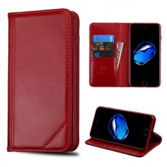Apple iPhone 8 Red Genuine Leather Wallet