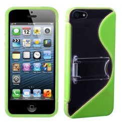 Apple iPhone 5c Transparent Clear/Solid Green (S Shape With Stand) Gummy Cover