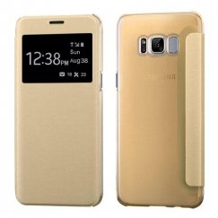 Samsung Galaxy S8 Gold Silk Texture with Transparent Frosted Tray