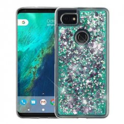 Google Pixel 2 XL Hearts & Green Quicksand Glitter Hybrid Case
