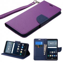 LG G Stylo Purple Pattern/Dark Blue Liner wallet with Lanyard