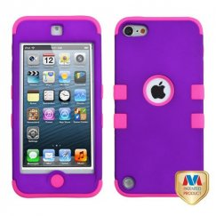 Apple iPod Touch (5th Generation) Rubberized Grape/Electric Pink Hybrid Case