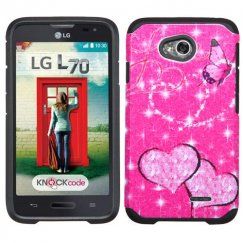 LG Optimus L70 Glittering Butterfly/Heart Hot Pink/Black Advanced Armor Case