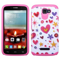 Alcatel One Touch Fierce 2 Heart Graffiti White/Hot Pink Advanced Armor Case