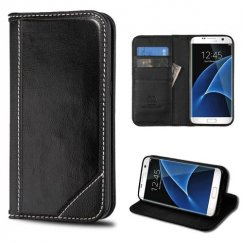 Samsung Galaxy S7 Edge Black Genuine Leather Wallet