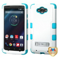 Motorola Droid Turbo Natural Ivory White/Tropical Teal Hybrid Case with Stand