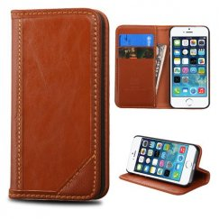 Apple iPhone 5s Brown Genuine Leather Wallet