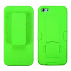 Apple iPhone SE Rubberized Apple Green Hybrid Holster with Stand