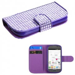 Samsung Galaxy Exhibit Purple Diamonds Book-Style Wallet with Card Slot