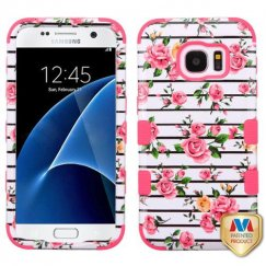 Samsung Galaxy S7 Pink Fresh Roses/Electric Pink Hybrid Case