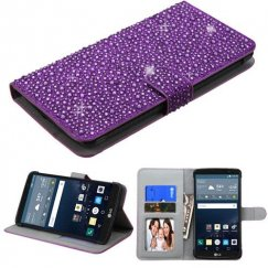 LG G Stylo Purple Diamante Wallet