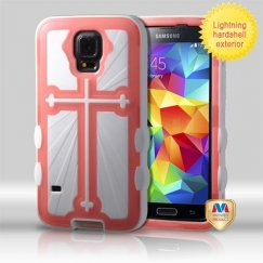 Samsung Galaxy S5 Rubberized Transparent Pink (glow-in-the-dark)/Solid White Cross Hybrid Case