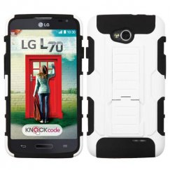 LG Optimus L70 White/Black Car Armor Stand Case - Rubberized