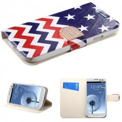 Samsung Galaxy S3 Stars-wave Wallet with Diamante Belt