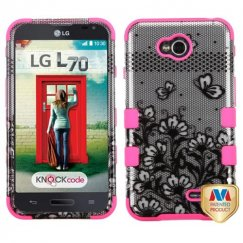 LG Optimus L70 Black Lace Flowers 2D Silver/Electric Pink Hybrid Case