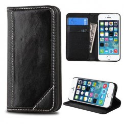 Apple iPhone 5s Black Genuine Leather Wallet