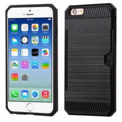 Apple iPhone 6s Black/Black Brushed Hybrid Case with Card Wallet