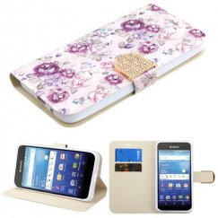 Kyocera Wave / Hydro Air Fresh Purple Flowers Diamante Wallet with Diamante Belt