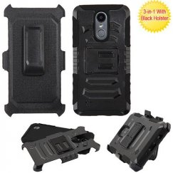 LG K8 Black/Black Advanced Armor Stand Case with Black Holster