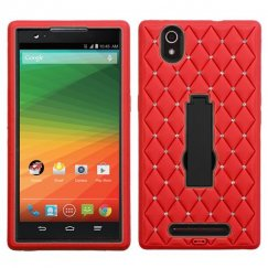 ZTE ZMax Black/Red Symbiosis Stand Case with Diamonds