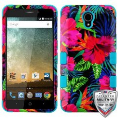 ZTE Prestige 2 Electric Hibiscus/Tropical Teal Hybrid Phone Protector Cover [Military-Grade Certified]
