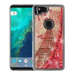 Google Pixel 2 Eiffel Tower & Rose Gold Stars Quicksand Glitter Hybrid Case