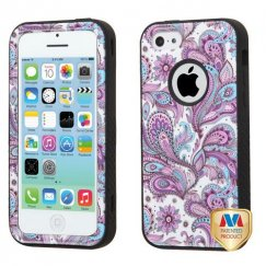 Apple iPhone 5c Purple European Flowers/Black Hybrid Case