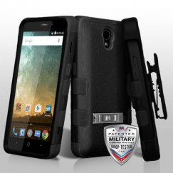 ZTE Prestige 2 Natural Black/Black Hybrid Case with Stand Military Grade with Black Horizontal Holster