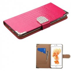 Apple iPhone 8 Plus Hot Pink Crocodile Skin Wallet with Metal Diamonds Buckle & Silver Plating Tray